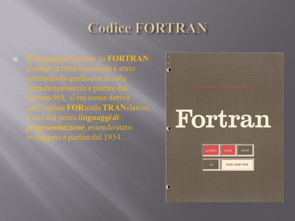 Il linguaggio Fortran (o FORTRAN: il nome in tutte maiuscole è stato sostituito da quello con la sola iniziale maiuscola a partire dal Fortran 90), il