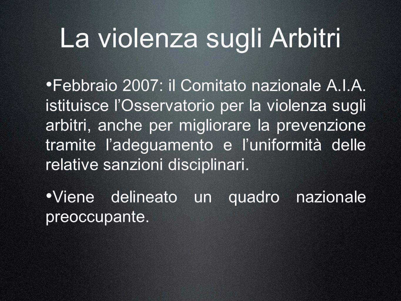 La violenza sugli Arbitri Febbraio 2007: il Comitato nazionale A.I.A. istituisce lOsservatorio per la violenza sugli arbitri, anche per migliorare la