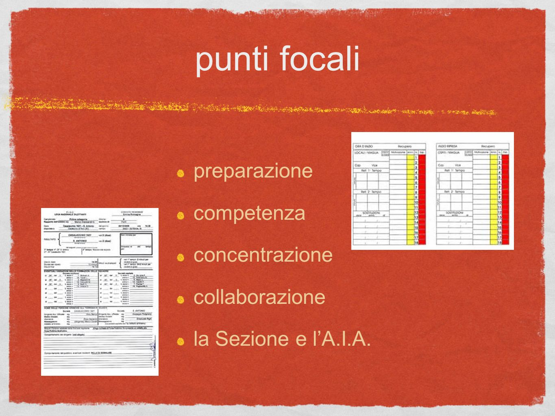 preparazione competenza concentrazione collaborazione la Sezione e lA.I.A. punti focali
