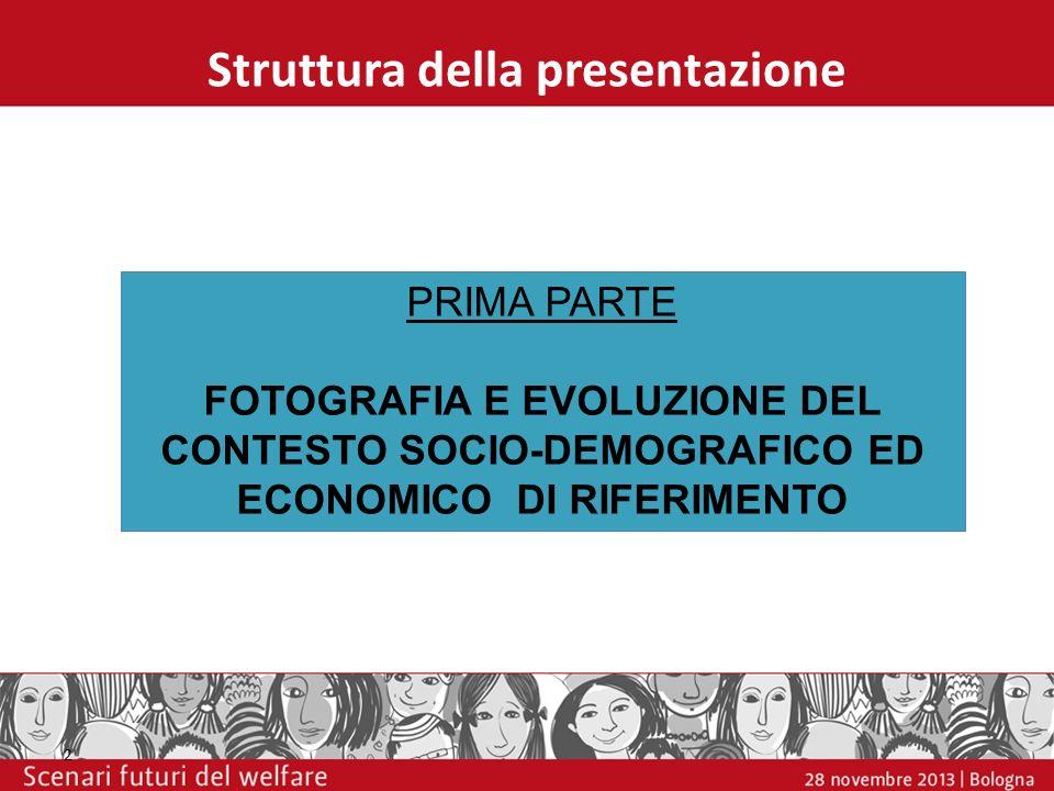 Struttura della presentazione 2 PRIMA PARTE FOTOGRAFIA E EVOLUZIONE DEL CONTESTO SOCIO-DEMOGRAFICO ED ECONOMICO DI RIFERIMENTO