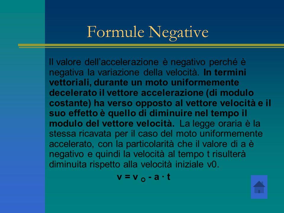 Formule Negative Il valore dellaccelerazione è negativo perché è negativa la variazione della velocità. In termini vettoriali, durante un moto uniform