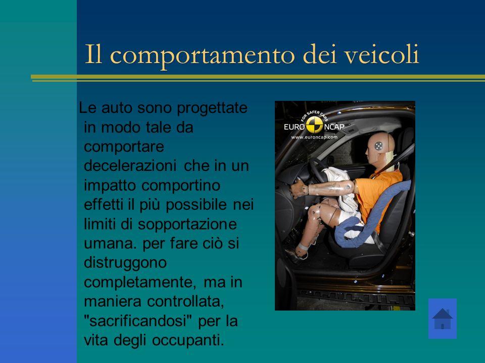 Il comportamento dei veicoli Le auto sono progettate in modo tale da comportare decelerazioni che in un impatto comportino effetti il più possibile ne