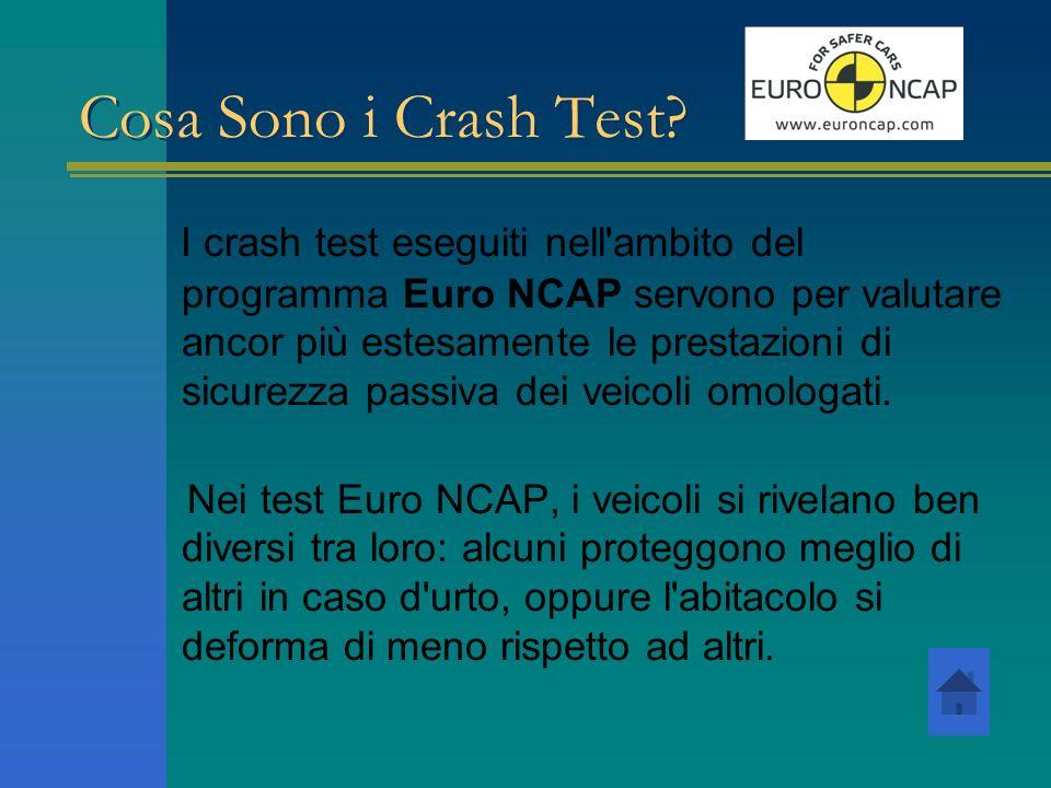 Cosa Sono i Crash Test? I crash test eseguiti nell'ambito del programma Euro NCAP servono per valutare ancor più estesamente le prestazioni di sicurez