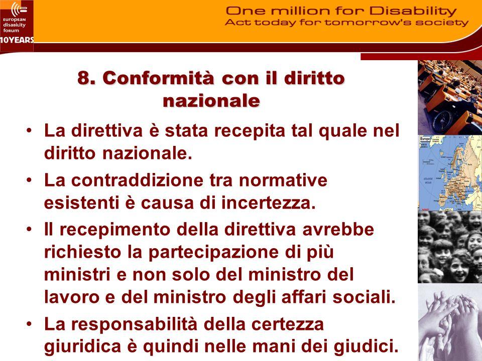 8. Conformità con il diritto nazionale La direttiva è stata recepita tal quale nel diritto nazionale. La contraddizione tra normative esistenti è caus