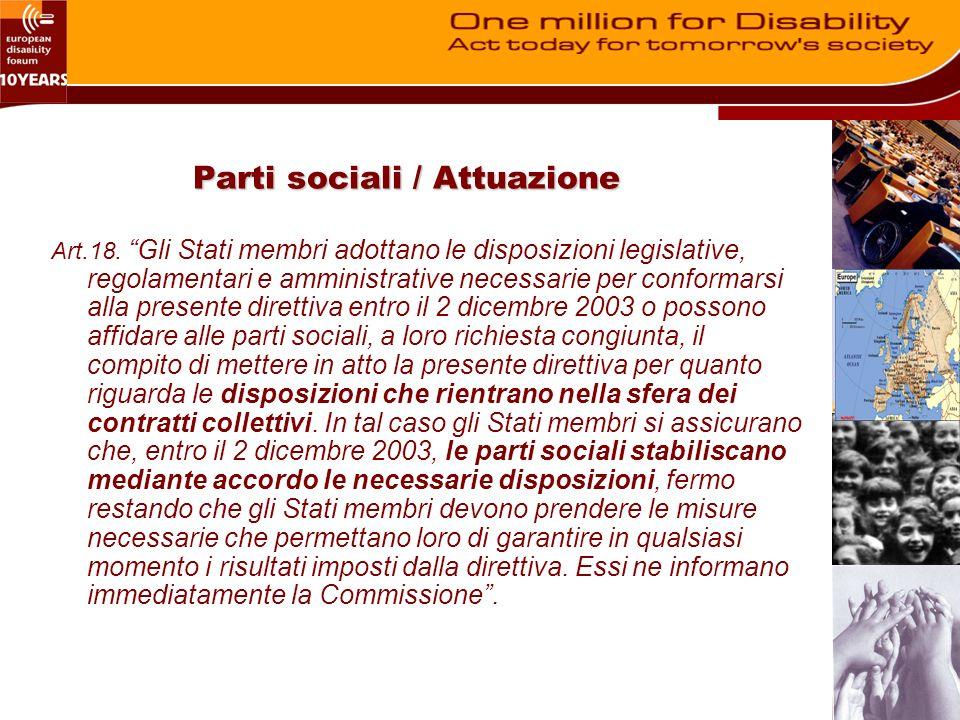 Parti sociali / Attuazione Art.18.