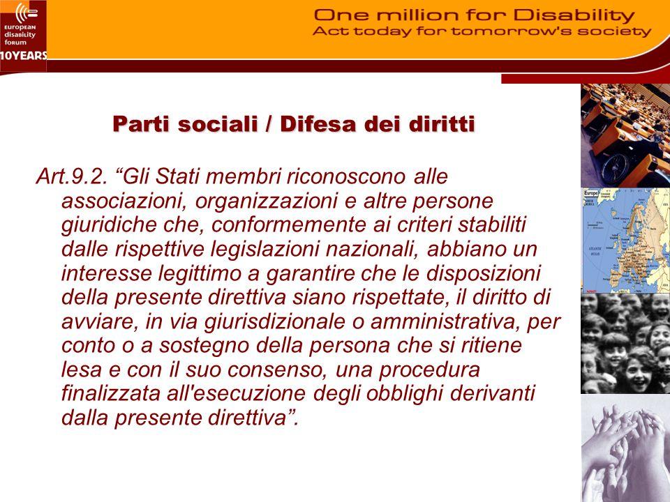 Parti sociali / Difesa dei diritti Art.9.2.