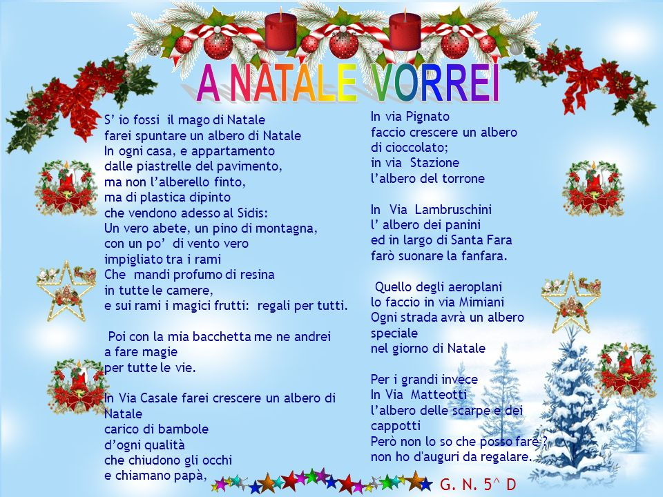 Natale di luce splendente Nasce Gesù sorridente. Ci porta i regali più belli Se nel cuor siam tutti fratelli. Via la guerra e la povertà E avanti la p