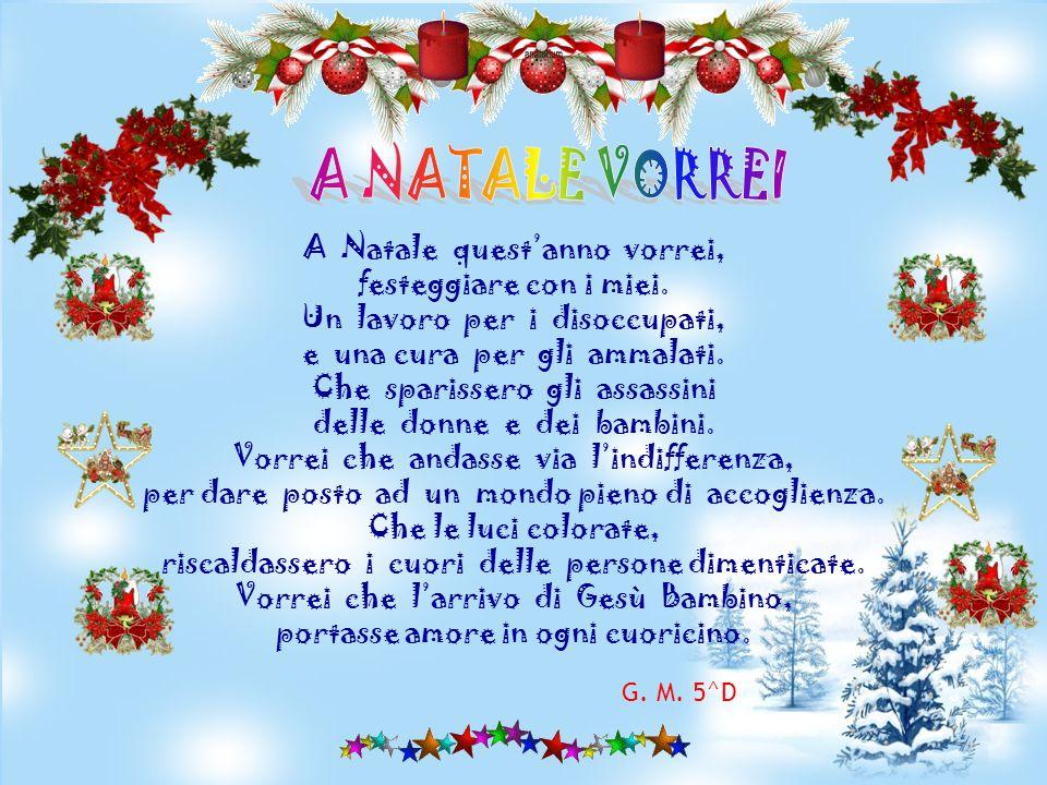 A Natale quest anno vorrei, un abbraccio damore che nel mondo ci fosse più colore, e con il sorriso di un bambino aiutare il proprio vicino. Che lodio