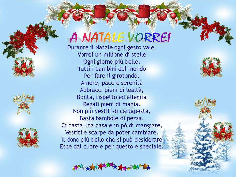 A Natale vorrei un albero carico di doni per i bambini più buoni. A Natale vorrei nel presepe Gesù Bambino e un Babbo Natale che scende dal camino. A