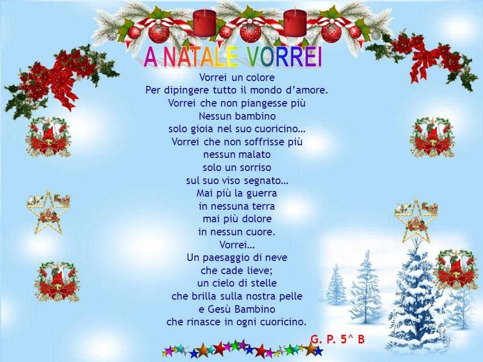 A Natale vorrei che ogni cuore abbia il suo colore che tutti fossero felici e diventare tutti amici niente più fame e miseria per i nostri fratelli in