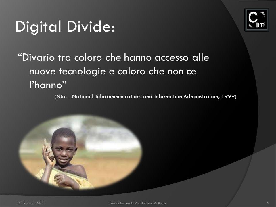 Digital Divide: Divario tra coloro che hanno accesso alle nuove tecnologie e coloro che non ce lhanno (Ntia - National Telecommunications and Informat