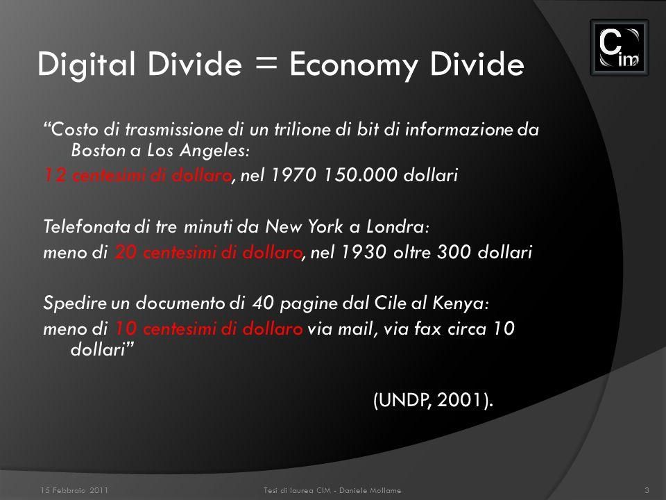 Digital Divide = Economy Divide Costo di trasmissione di un trilione di bit di informazione da Boston a Los Angeles: 12 centesimi di dollaro, nel 1970