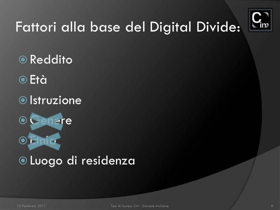 Differenze infrastrutturali. 15 Febbraio 2011Tesi di laurea CIM - Daniele Mollame9