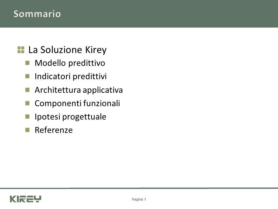 Pagina 1 La Soluzione Kirey Modello predittivo Indicatori predittivi Architettura applicativa Componenti funzionali Ipotesi progettuale Referenze