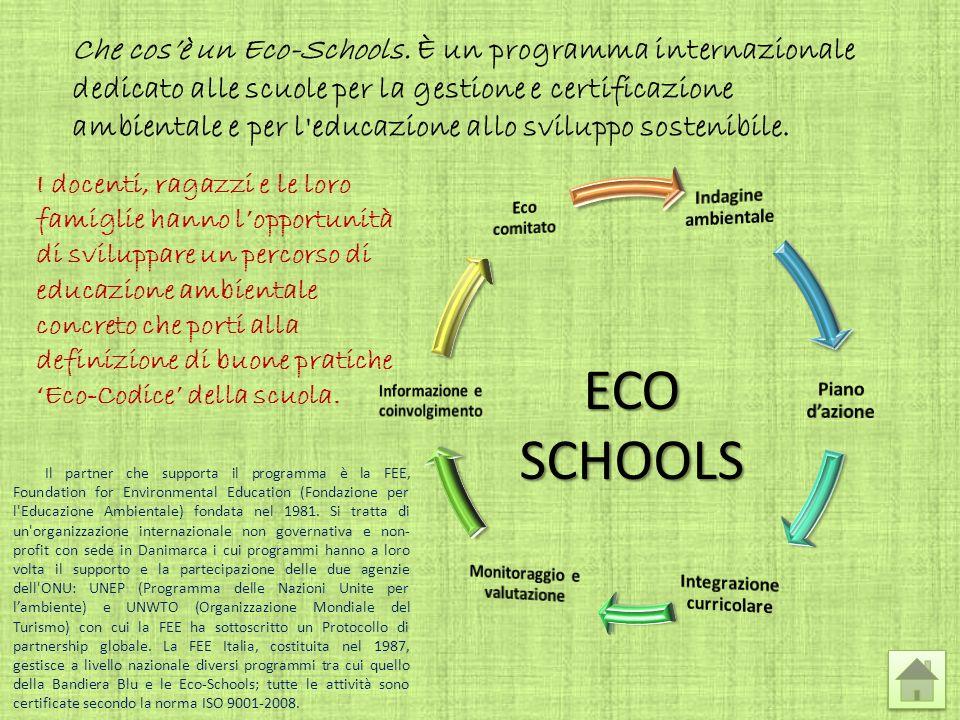 ECO SCHOOLS Che cosè un Eco-Schools. È un programma internazionale dedicato alle scuole per la gestione e certificazione ambientale e per l'educazione