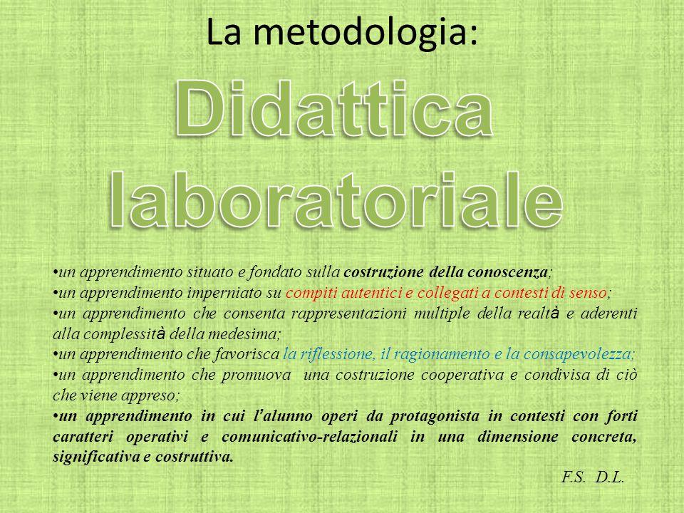 La metodologia: un apprendimento situato e fondato sulla costruzione della conoscenza; un apprendimento imperniato su compiti autentici e collegati a