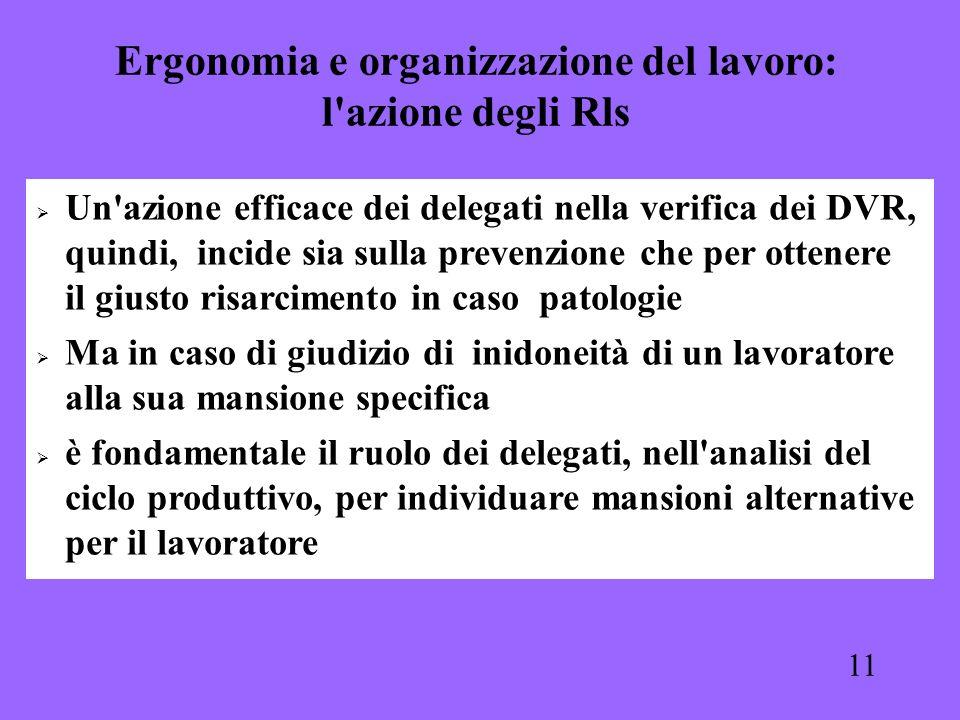 11 Un'azione efficace dei delegati nella verifica dei DVR, quindi, incide sia sulla prevenzione che per ottenere il giusto risarcimento in caso patolo