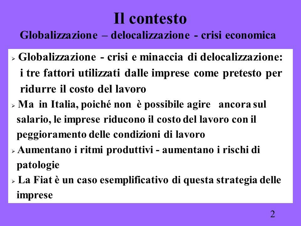 2 Il contesto Globalizzazione – delocalizzazione - crisi economica Globalizzazione - crisi e minaccia di delocalizzazione: i tre fattori utilizzati da