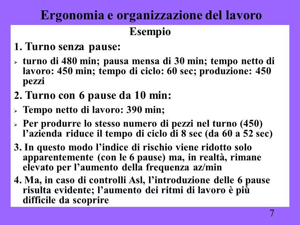 7 Esempio 1. Turno senza pause: turno di 480 min; pausa mensa di 30 min; tempo netto di lavoro: 450 min; tempo di ciclo: 60 sec; produzione: 450 pezzi