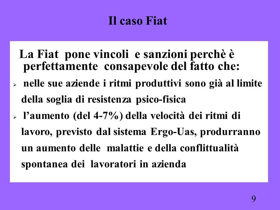 9 La Fiat pone vincoli e sanzioni perchè è perfettamente consapevole del fatto che: nelle sue aziende i ritmi produttivi sono già al limite della sogl