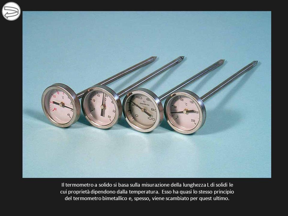 Il termometro a solido si basa sulla misurazione della lunghezza L di solidi le cui proprietà dipendono dalla temperatura. Esso ha quasi lo stesso pri