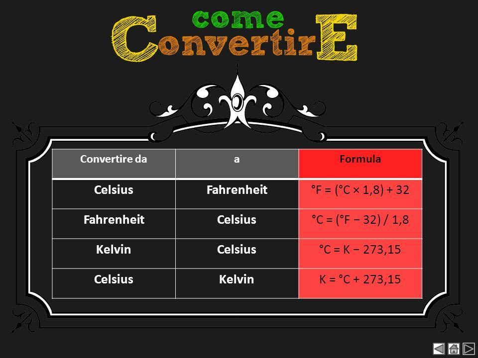 Convertire daaFormula CelsiusFahrenheit°F = (°C × 1,8) + 32 FahrenheitCelsius°C = (°F 32) / 1,8 KelvinCelsius°C = K 273,15 CelsiusKelvinK = °C + 273,1