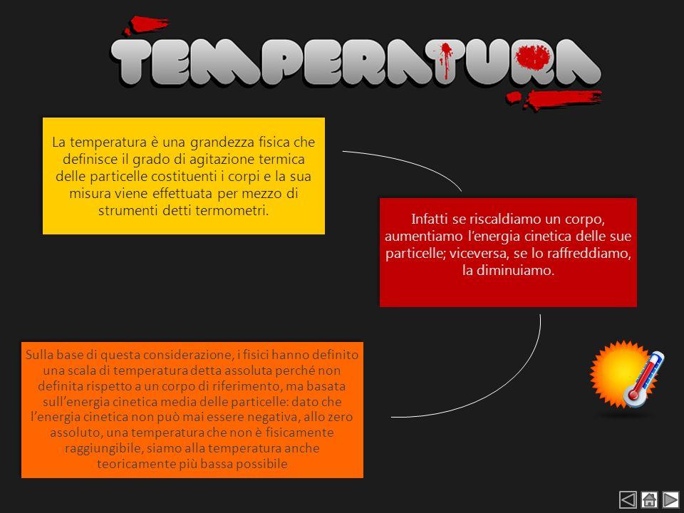 La temperatura è una grandezza fisica che definisce il grado di agitazione termica delle particelle costituenti i corpi e la sua misura viene effettua