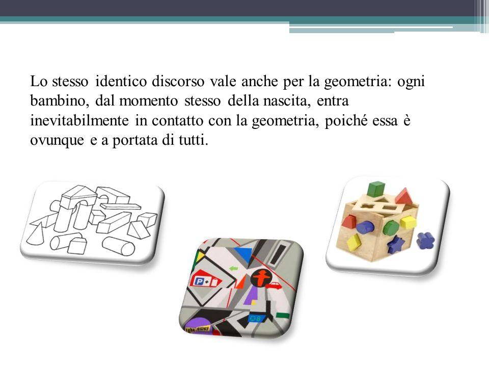 Lo stesso identico discorso vale anche per la geometria: ogni bambino, dal momento stesso della nascita, entra inevitabilmente in contatto con la geom