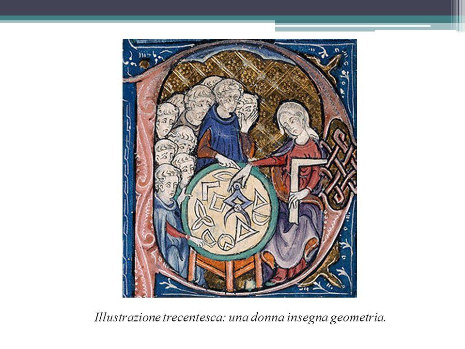 Illustrazione trecentesca: una donna insegna geometria.