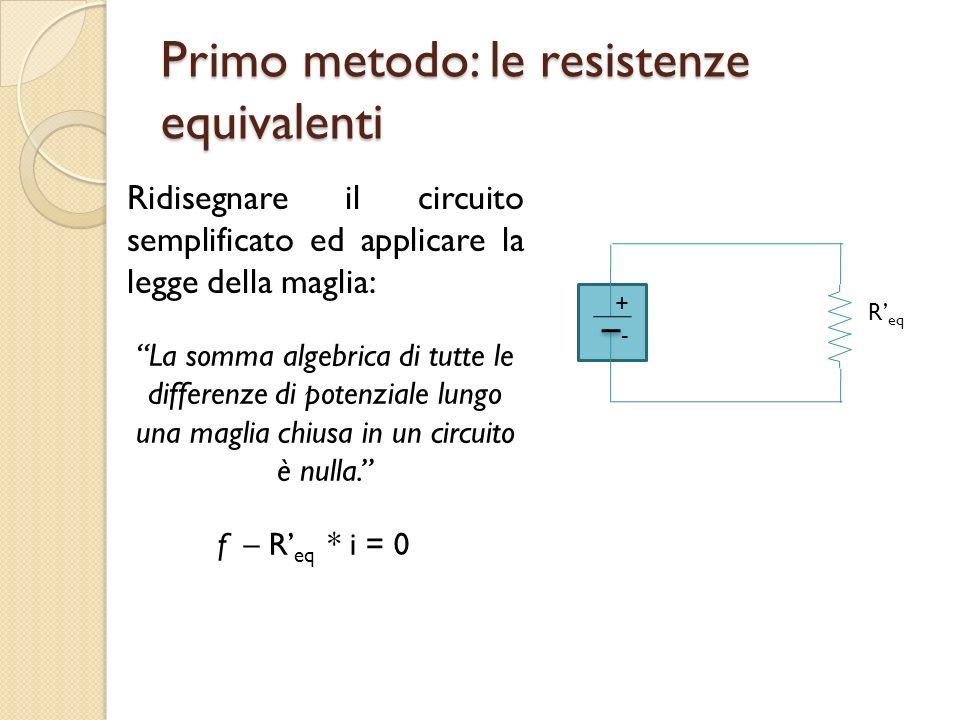 Primo metodo: le resistenze equivalenti Ridisegnare il circuito semplificato ed applicare la legge della maglia: + - R eq La somma algebrica di tutte