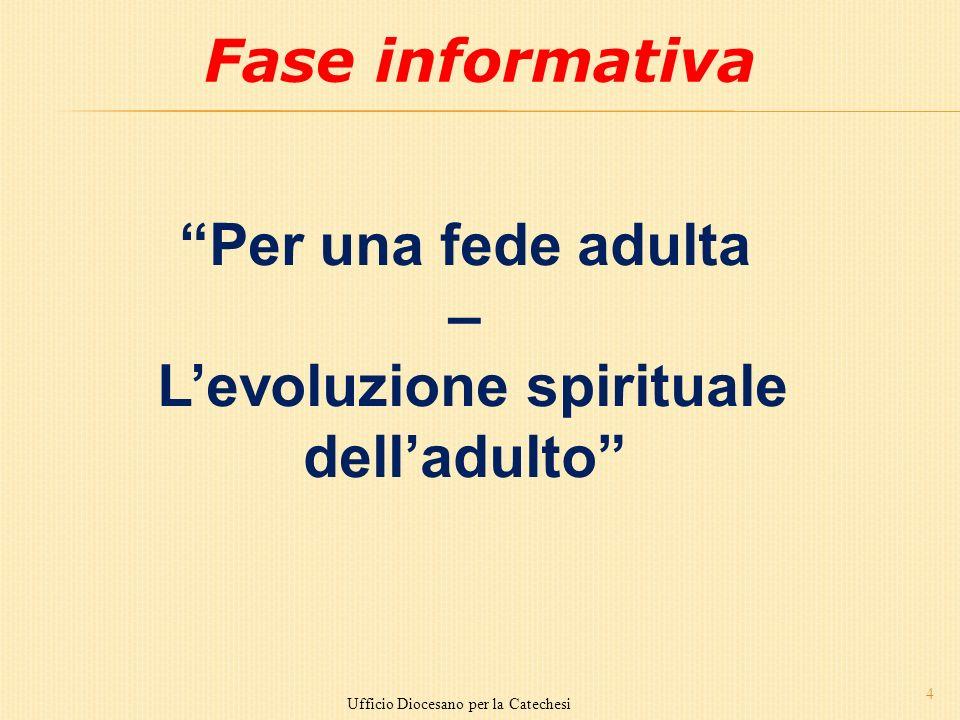 4 Ufficio Diocesano per la Catechesi Fase informativa Per una fede adulta – Levoluzione spirituale delladulto
