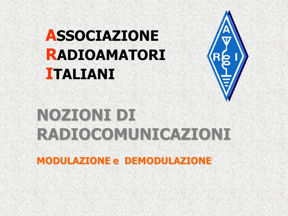 A SSOCIAZIONE R ADIOAMATORI I TALIANI NOZIONI DI RADIOCOMUNICAZIONI MODULAZIONE e DEMODULAZIONE
