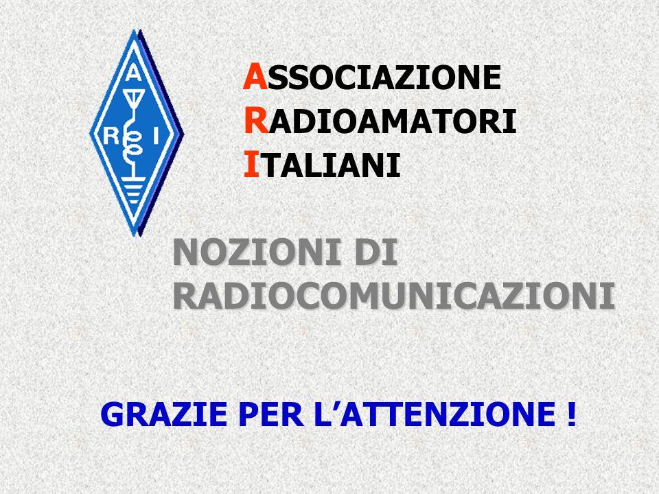 A SSOCIAZIONE R ADIOAMATORI I TALIANI NOZIONI DI RADIOCOMUNICAZIONI GRAZIE PER LATTENZIONE !