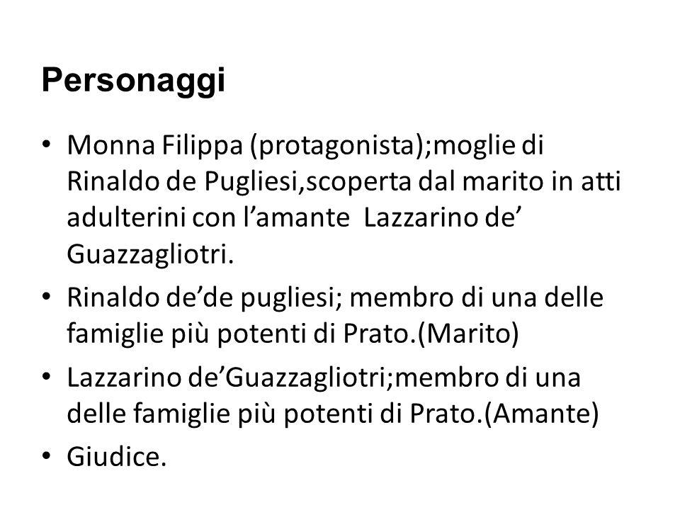 Personaggi Monna Filippa (protagonista);moglie di Rinaldo de Pugliesi,scoperta dal marito in atti adulterini con lamante Lazzarino de Guazzagliotri. R