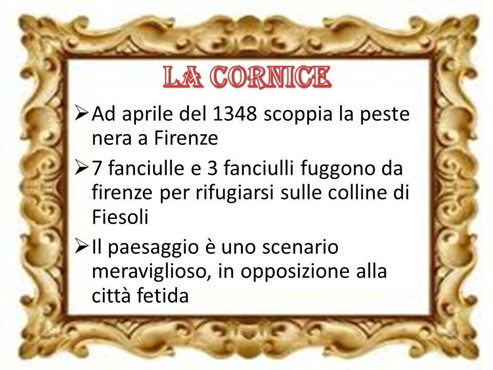 Ad aprile del 1348 scoppia la peste nera a Firenze 7 fanciulle e 3 fanciulli fuggono da firenze per rifugiarsi sulle colline di Fiesoli Il paesaggio è