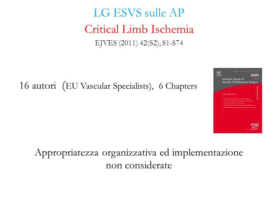 LG ESVS sulle AP 16 autori ( EU Vascular Specialists), 6 Chapters Critical Limb Ischemia EJVES (2011) 42(S2), S1-S74 Appropriatezza organizzativa ed i