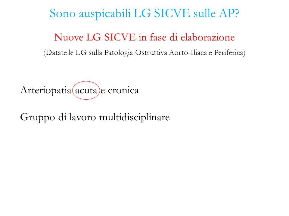 Sono auspicabili LG SICVE sulle AP? Arteriopatia acuta e cronica Gruppo di lavoro multidisciplinare Nuove LG SICVE in fase di elaborazione (Datate le