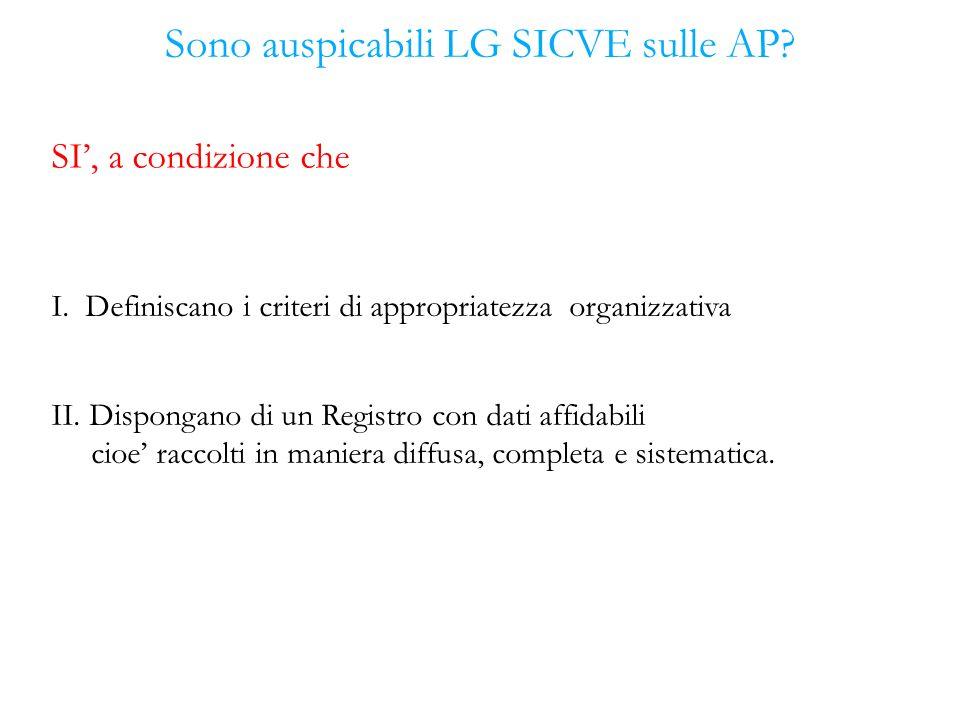 Sono auspicabili LG SICVE sulle AP? SI, a condizione che I. Definiscano i criteri di appropriatezza organizzativa II. Dispongano di un Registro con da