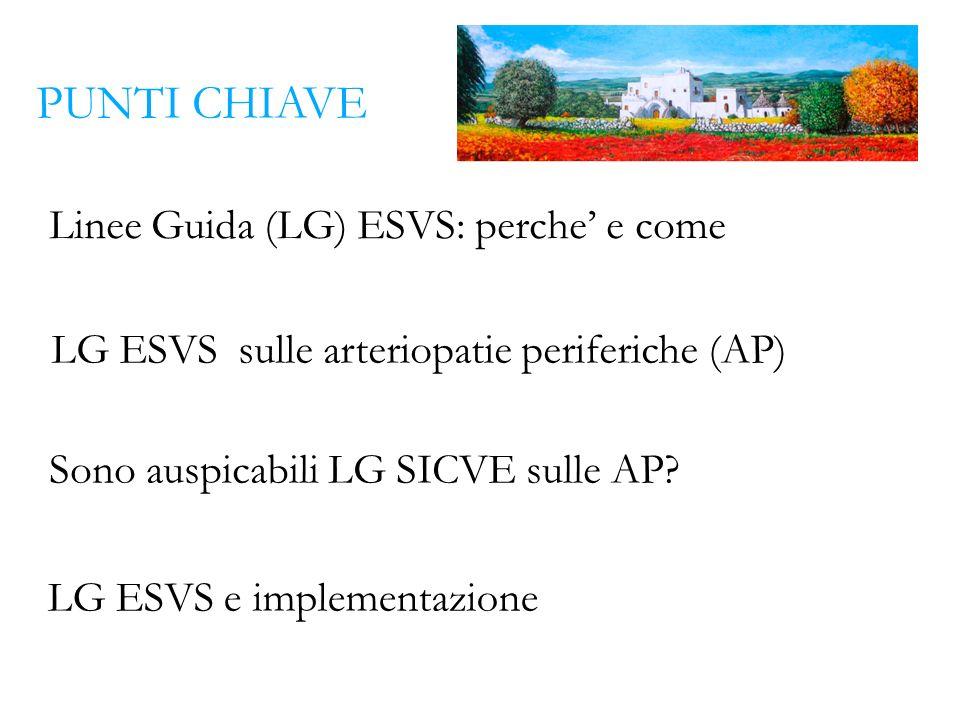Linee Guida (LG) ESVS: perche e come LG ESVS sulle arteriopatie periferiche (AP) Sono auspicabili LG SICVE sulle AP? LG ESVS e implementazione PUNTI C