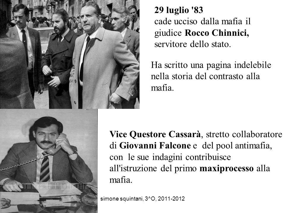 29 luglio 83 cade ucciso dalla mafia il giudice Rocco Chinnici, servitore dello stato.
