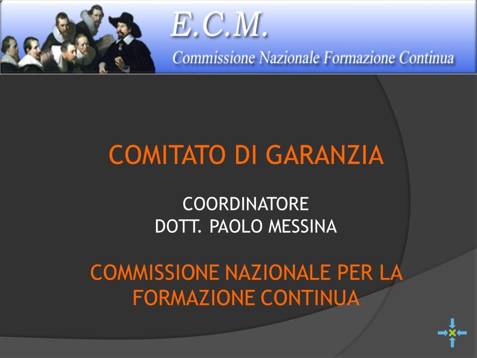 COMITATO DI GARANZIA COORDINATORE DOTT. PAOLO MESSINA COMMISSIONE NAZIONALE PER LA FORMAZIONE CONTINUA