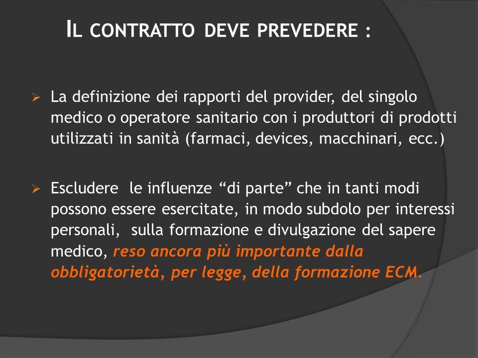 I L CONTRATTO DEVE PREVEDERE : La definizione dei rapporti del provider, del singolo medico o operatore sanitario con i produttori di prodotti utilizz