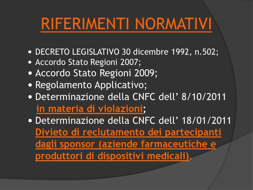 RIFERIMENTI NORMATIVI DECRETO LEGISLATIVO 30 dicembre 1992, n.502; Accordo Stato Regioni 2007; Accordo Stato Regioni 2009; Regolamento Applicativo; De