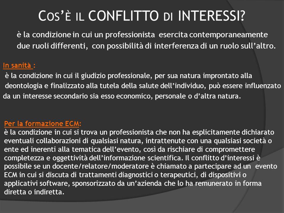 C OS È IL CONFLITTO DI INTERESSI? è la condizione in cui un professionista esercita contemporaneamente due ruoli differenti, con possibilità di interf