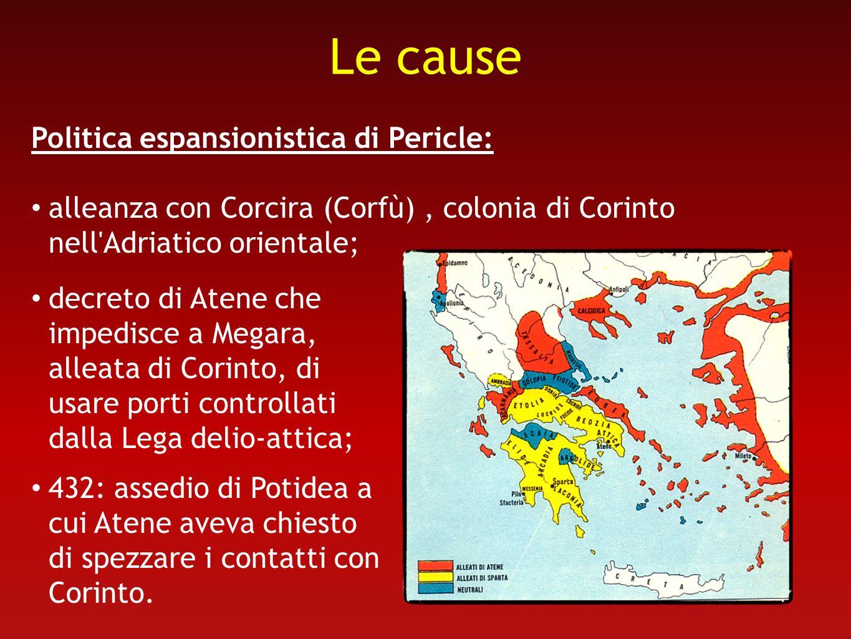 Le cause Politica espansionistica di Pericle: alleanza con Corcira (Corfù), colonia di Corinto nell'Adriatico orientale; decreto di Atene che impedisc