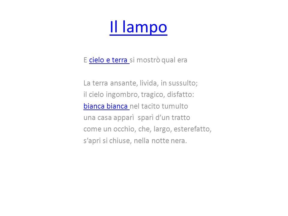 Contenuto In questa poesia Giovanni Pascoli descrive laspetto della natura durante una notte tempestosa, in particolare nel momento in cui avviene un lampo.