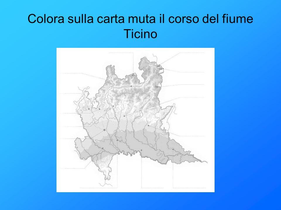 Colora sulla carta muta il corso del fiume Ticino