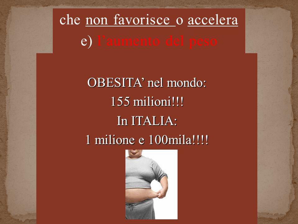 OBESITA nel mondo: 155 milioni!!. In ITALIA: 1 milione e 100mila!!!.