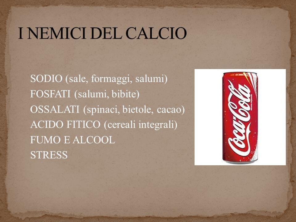 SODIO (sale, formaggi, salumi) FOSFATI (salumi, bibite) OSSALATI (spinaci, bietole, cacao) ACIDO FITICO (cereali integrali) FUMO E ALCOOL STRESS