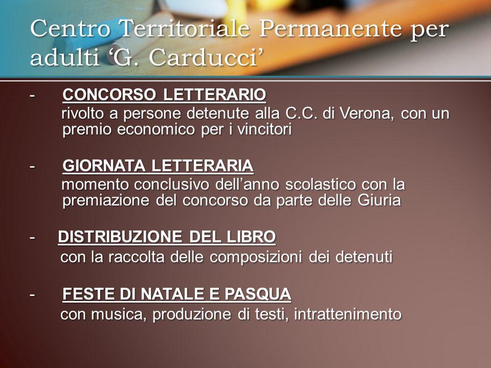 -CONCORSO LETTERARIO rivolto a persone detenute alla C.C. di Verona, con un premio economico per i vincitori rivolto a persone detenute alla C.C. di V